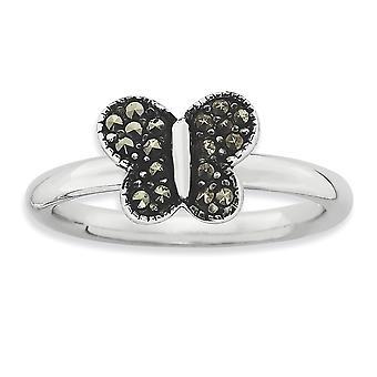 2,25 mm sterlingsølv poleret Rhodium-belagt stabelbare udtryk Marcasite sommerfugl Ring - ringstørrelse: 5-10