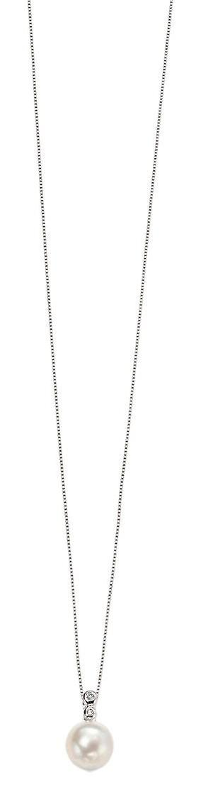 EleHommests or Freshwater Pearl and Diamond pendentif - blanc or blanc