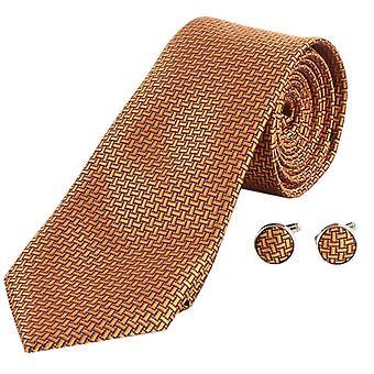 Knightsbridge Neckwear Geometric Design Tie and Cufflinks Set - Amber