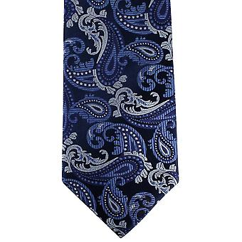 David Van Hagen Paisley Tie - Navy/blauw/zilver