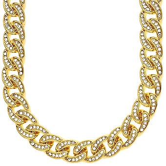 Iced out hip hop bling CZ chain - 12 mm gold