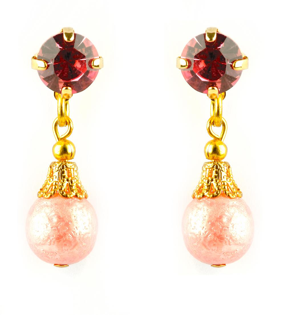 Waooh - Fashion Jewellery - WJ0694 - D'Oreille earrings with Swarovski Strass Rouge - Frame Colour Gold - Pearls Color Pink