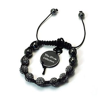 TOC Treated Hematite & 7 Grey Crystal Disco Ball Adjustable Bracelet