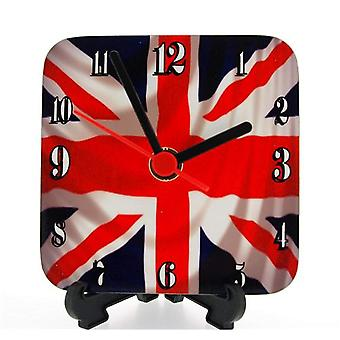 The Olivia Collection England Union Jack Square Quartz Free Standing Funky Clock