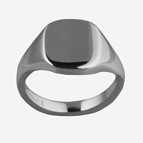 18ct white gold ladies and boys plain cushion signet ring 12x10mm