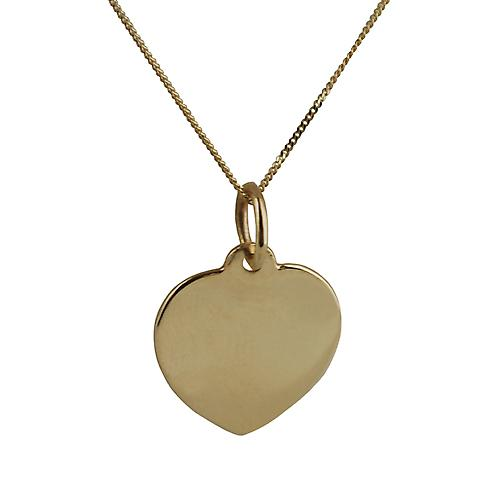 9ct Gold 14x14mm plain Heart disc with Curb chain