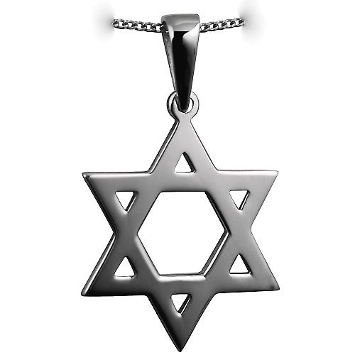 Silver 31x27mm plain Star of David Pendant on a bail with a curb Chain 24 inches