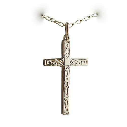 9ct Gold 30x18mm hand engraved block Cross with Belcher chain