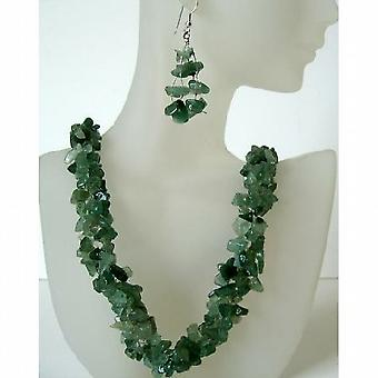 Genuine Sterling Silver Green Jade Stone Nugget Chip Handcrafte Necklace Sets