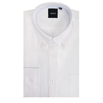 Dobell Mens weißes Oxford-Hemd passt regelmäßig 100 % Baumwolle Button-Down Kragen