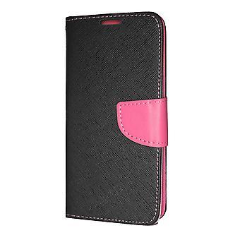 Pochette portefeuille de Huawei P Smart 2019 fantaisie Case Black-Pink + dragonne