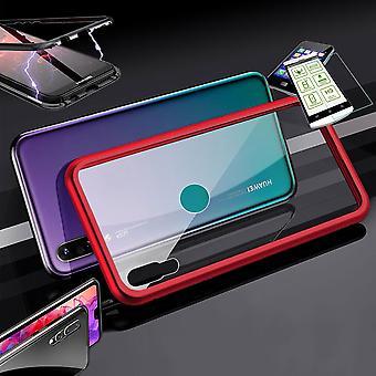 Für Huawei P30 Lite Magnet / Metall / Glas Tasche Case Rot / Transparent + 0,26 mm H9 Hart Glas
