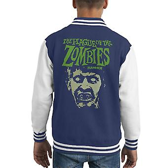 Hammer The Plague Of The Zombies Face Poster Kid's Varsity Jacket