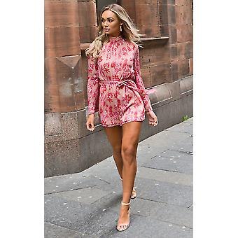IKRUSH Womens Elissa Floral High Neck Belted Playsuit