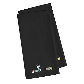 Black Border Collie Easter Black Embroidered Kitchen Towel Set of 2