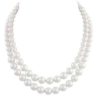 Eternal Collection Windsor Two Strand Graduated White Shell Pearl Necklace
