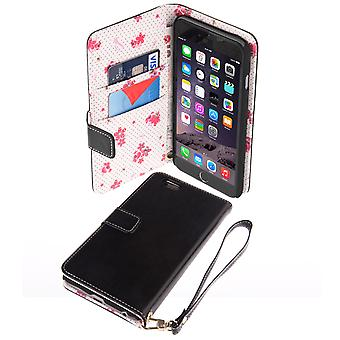 Caseflex iPhone 6 Plus and 6s Plus LeatherEffect Wallet Case – Black with Floral Lining