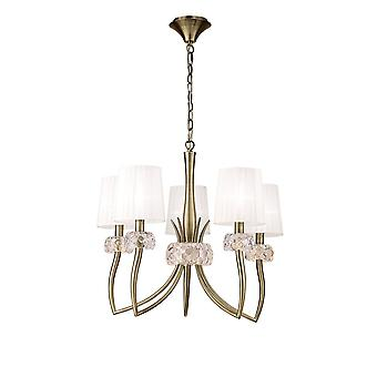 Mantra M4631AB Loewe Pendant 5 Light E14, Antique Brass With White Shades