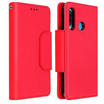 Magnetic Detachable Wallet Folio Case for Huawei P30 Lite - Red