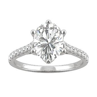 14K White Gold Moissanite by Charles & Colvard 9x7mm Oval Engagement Ring, 2.34cttw DEW