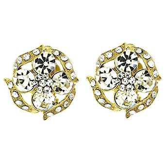 Clip On Earrings Store Gold and Clear Crystal Swirl Flower Clip On Earrings