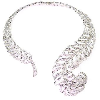 Kenneth Jay Lane Crystal & Silver Feather Collar Necklace