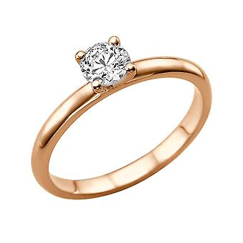 0.6 Carat H SI1 Diamond Engagement Ring 14K Rose Gold Solitaire Plain Classic