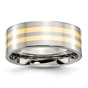 Titanium Flat Band Engravable 14k Gold Inlay 8mm Polished Band Ring - Ring Size: 6 to 13