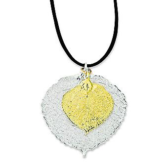 Sterling Silver/24k Gold Dipped Double Aspen Leaf Necklace - 20 Inch