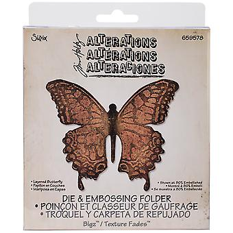 Sizzix Bigz Die W/A2 Texture Fades Folder By Tim Holtz-Layered Butterfly 659578