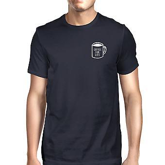 Kaffe For livet Pocket menn marinen t-skjorter morsomme typografiske Tee