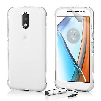 Harte Crystal Gel Case + Stift für Motorola Moto G4 spielen - Clear