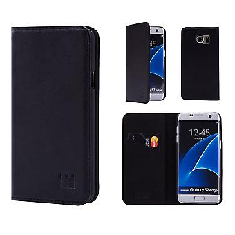 32nd Classic Real Leather Wallet for Samsung Galaxy S7 Edge G935 - Black