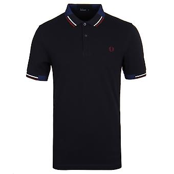 Fred Perry Navy Abstract Twin Tipped Pique Polo Shirt