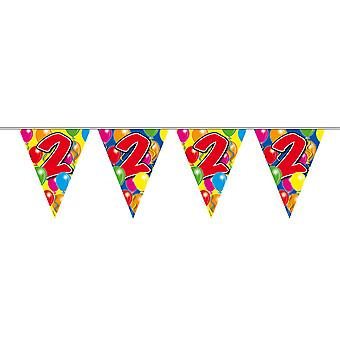 Pennant chain 10 m number 2 years birthday decoration party Garland