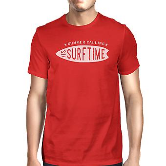 Summer Calling Its Surf Time Tshirt For Men Short Sleeve Cotton Tee