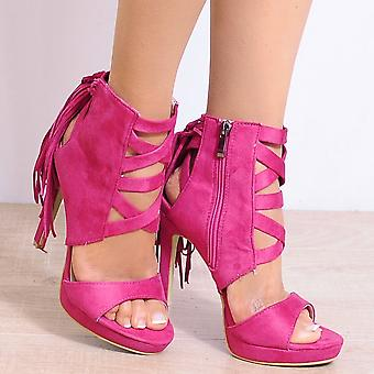 Koi Couture Pink Lace Up Heels - Ladies Fd24 Fuchsia Pink Peep Toes Ankle Strap Stilettos Strappy Sandals High Heels