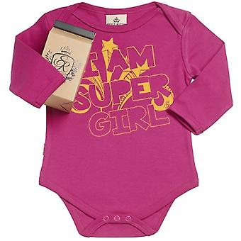 Spoilt Rotten I Am Super Girl Organic Baby Grow In Gift Milk Carton