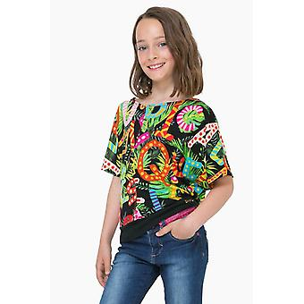 Desigual girl colorful shirt with flower pattern TS Swan