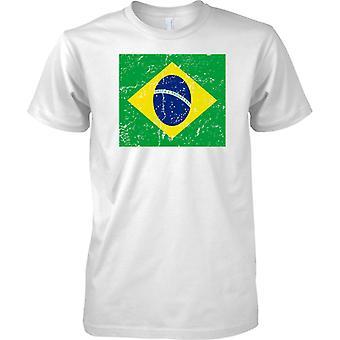 Brazil Distressed Grunge Effect Flag Design - Mens T Shirt