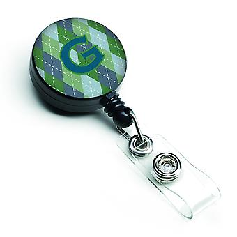 Monogram - eerste G blauwe Argoyle intrekbare Badge Reel
