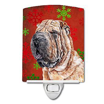 Shar Pei Red Snowflakes Holiday Ceramic Night Light