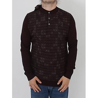 Remus Uomo L/S Knitted Pattern Polo - Wine