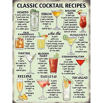 Classic Cocktails Recipe Metal Wall Sign