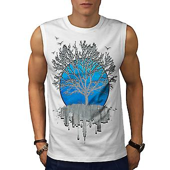 Urban Mirror Tree Men WhiteSleeveless T-shirt | Wellcoda