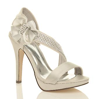 Ajvani womens wedding evening prom high heel platform sandals bridal peep toe shoes