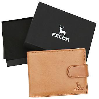 Felda genuino de la vaca cuero cazador lujo Mens doble monedero 8 ranura para tarjeta de crédito, bolsillo de la moneda y la caja de regalo de presentación