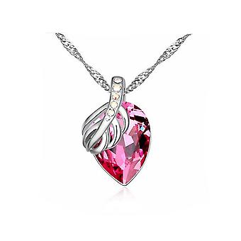 Gorgeous Ladies Pendant Necklace Fruit Leaf Light Pink Large Stone Silver Jewelry