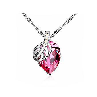 Underbara damer hängande halsband frukt blad ljus rosa stor sten Silver smycken