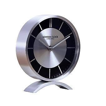 London Clock 1922 15cm Titanium Sport Brushed Chrome Circle Shaped Mantel Clock